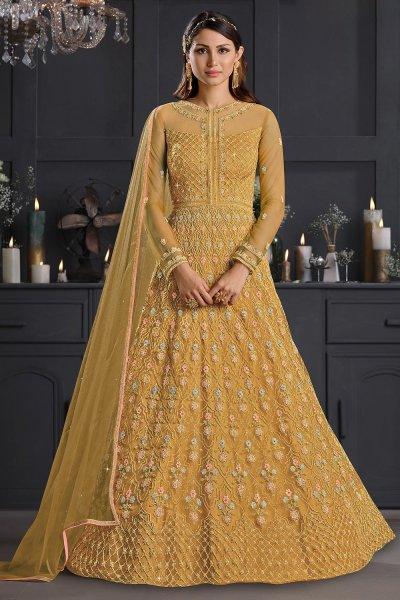 Mustard Yellow Butterfly Net Embellished Anarkali Set