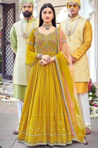 Mustard Yellow Embroidered Georgette Anarkali Dress
