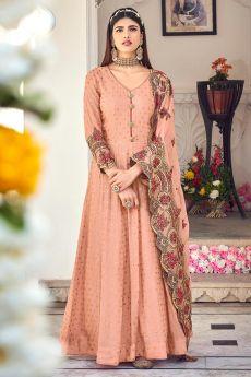 Peach Embroidered Georgette Anarkali Dress