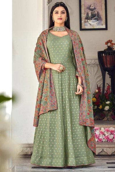 Sage Green Embroidered Georgette Anarkali Dress