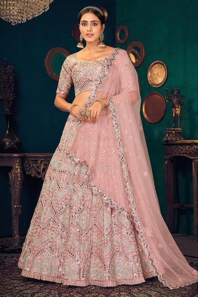 Pastel Pink Georgette Lehenga Choli