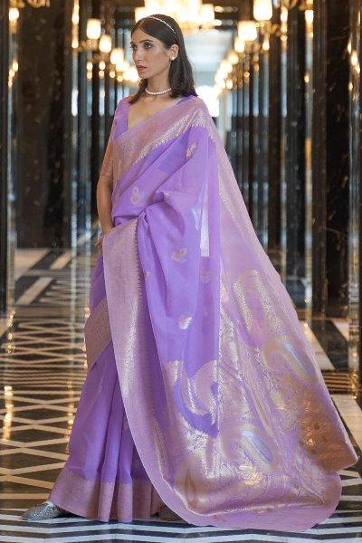 Light Purple Linen Floral Saree