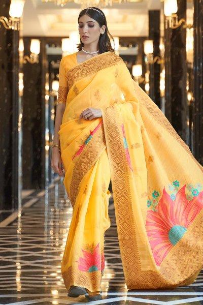 Yellow Linen Floral Saree