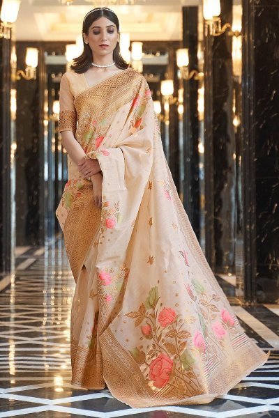 Beige Linen Floral Saree