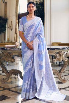 Cornflower Blue Silk Saree with Chikan work