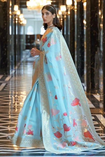 Pastel Blue Linen Floral Saree