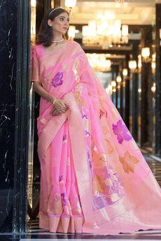 Pink Linen Floral Saree