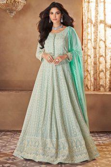 Mint Blue Georgette Embroidered Anarkali Dress