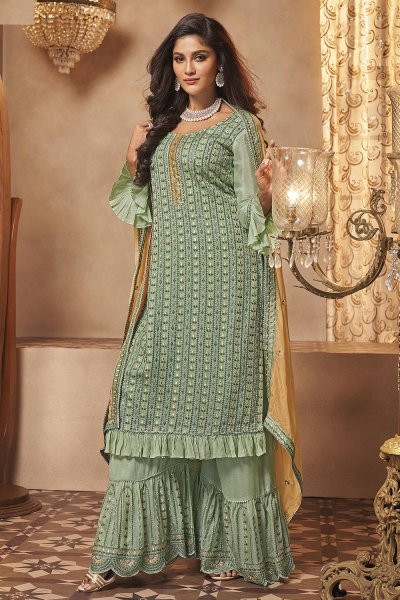 Pista Green Georgette Embroidered Sharara Suit