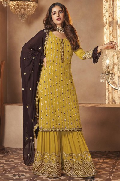 Mustard Yellow Georgette Embroidered Sharara Suit