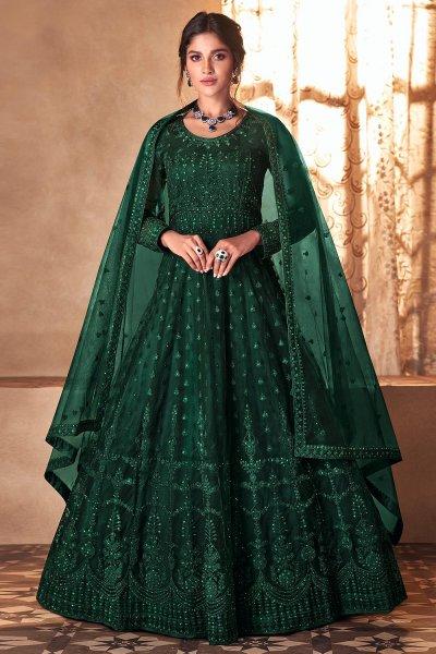 Bottle Green Net Embellished Anarkali Dress