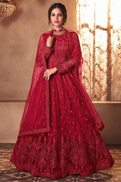 Red Net Embellished Anarkali Dress