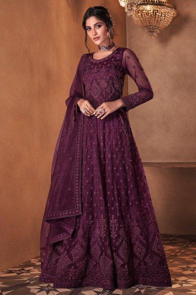 Plum Net Embellished Anarkali Dress