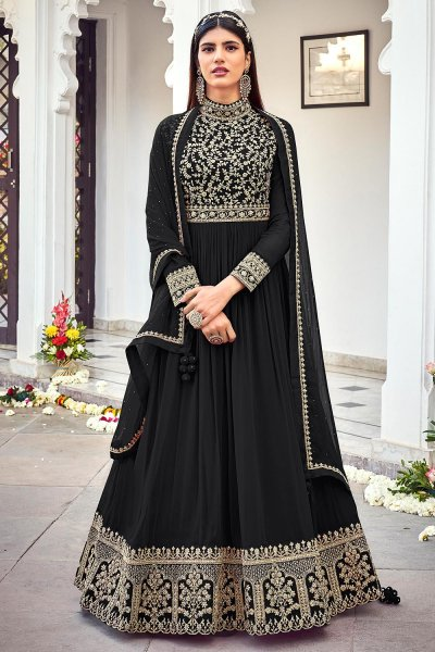 Black Zari Embroidered Georgette Anarkali Dress