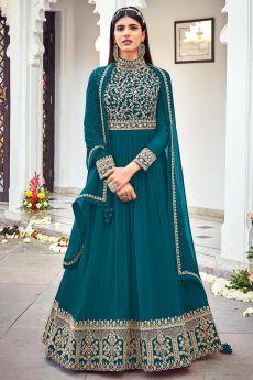 Teal Blue Zari Embroidered Georgette Anarkali Dress
