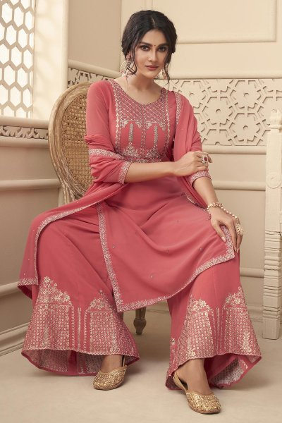 Blush Pink Embroidered Georgette Kurta & Palazzo