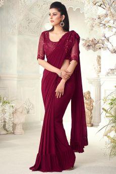 Wine Red Ruffle Silk Saree