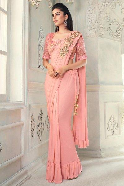 Peach Ruffle Silk Saree