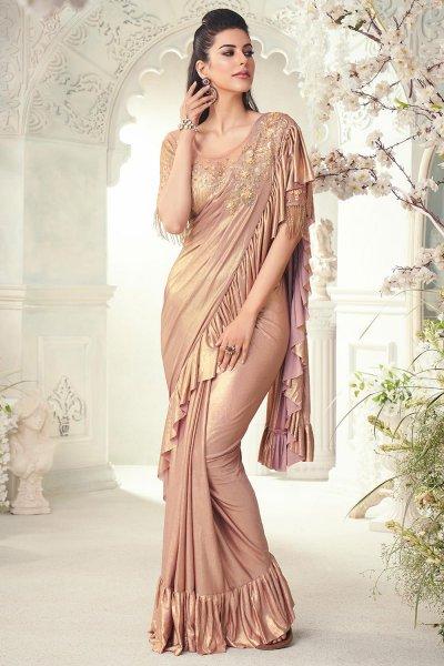 Dull Gold Ruffle Silk Saree