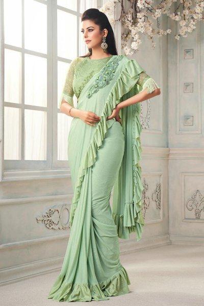 Mint Green Ruffle Silk Saree