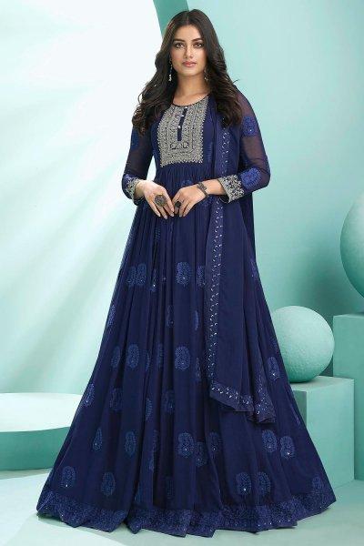 Ready To Wear Navy Blue Georgette Embellished Anarkali Suit