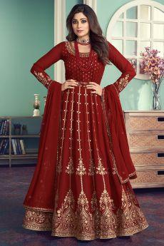 Red Georgette Embellished Anarkali Suit