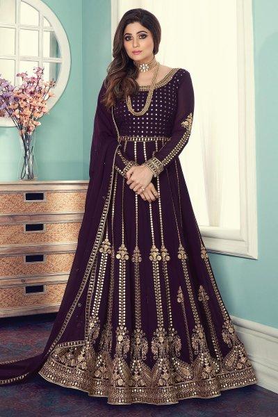 Plum Georgette Embellished Anarkali Suit
