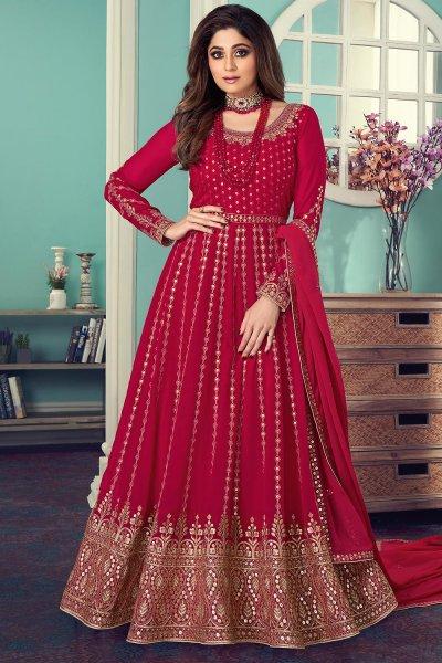 Pink Georgette Embellished Anarkali Suit
