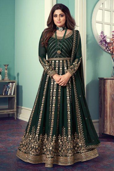 Bottle Green Georgette Embellished Anarkali Suit