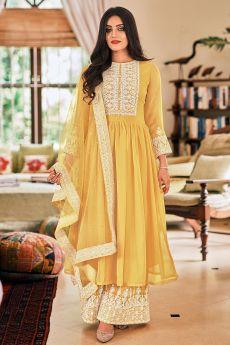 Ready To Wear Yellow Georgette Embellished Anarkali Suit