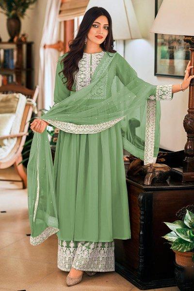 Ready To Wear Fern Green Georgette Embellished Anarkali Suit