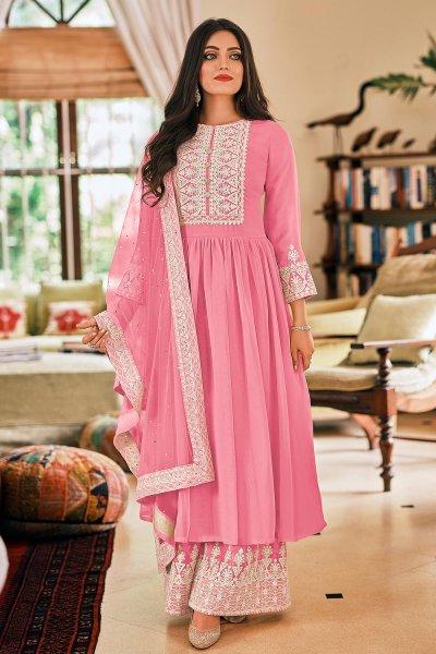 Ready To Wear Light Pink Georgette Embellished Anarkali Suit