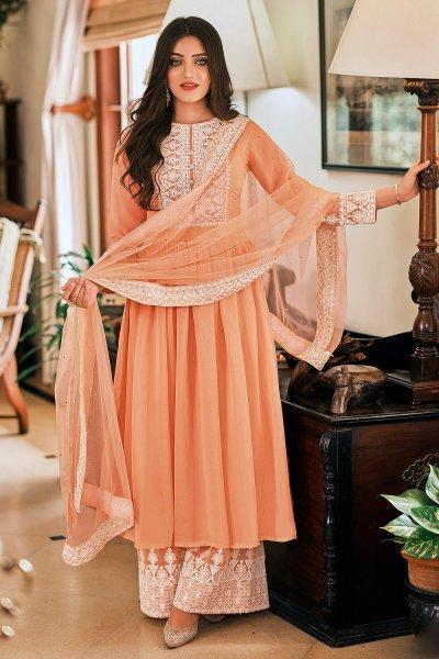 Ready To Wear Peach Georgette Embellished Anarkali Suit