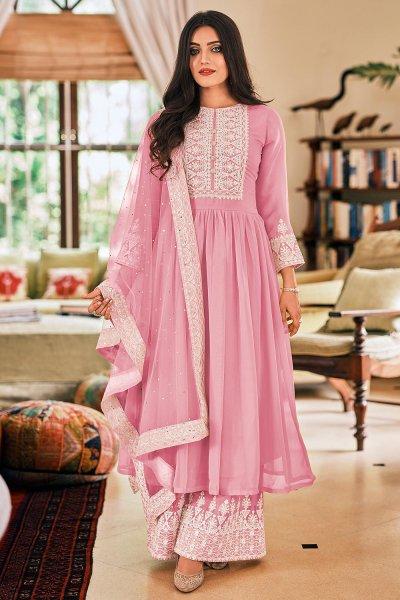 Ready To Wear Pastel Pink Georgette Embellished Anarkali Suit