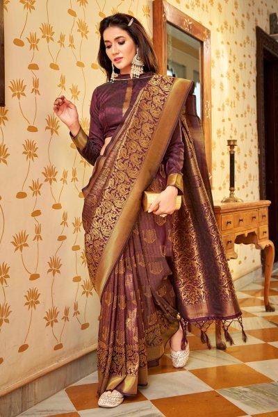Plum Zari Weaved Handloom Silk Saree