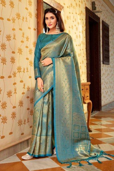 Blue Zari Weaved Handloom Silk Saree