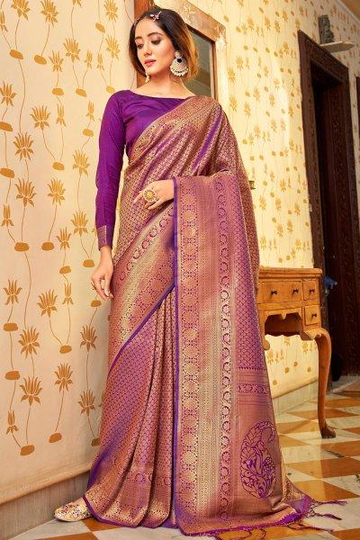 Magenta Zari Weaved Handloom Silk Saree