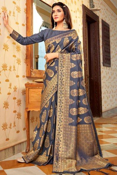 Blue-Grey Zari Weaved Handloom Silk Saree