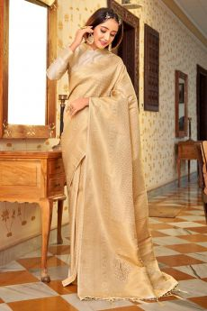 Cream Zari Weaved Handloom Silk Saree