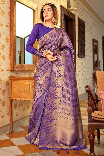 Purple Zari Weaved Handloom Silk Saree