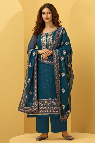 Prussian Blue Georgette Embroidered Suit With Palazzo