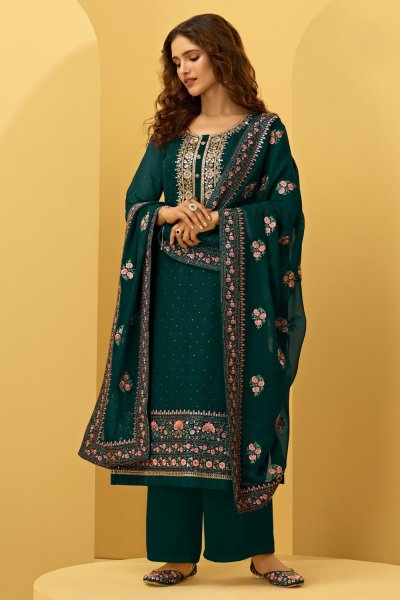 Bottle Green Georgette Embroidered Suit With Palazzo