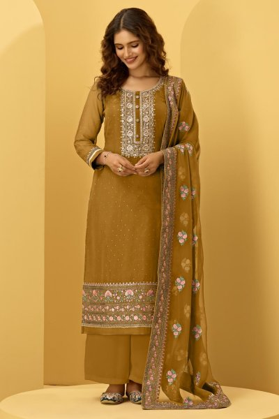 Mustard Yellow Georgette Embroidered Suit With Palazzo
