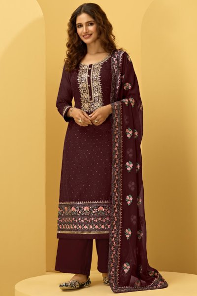 Wine Red Georgette Embroidered Suit With Palazzo