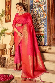 Red-Pink Handloom Weaved Banarasi Silk Saree