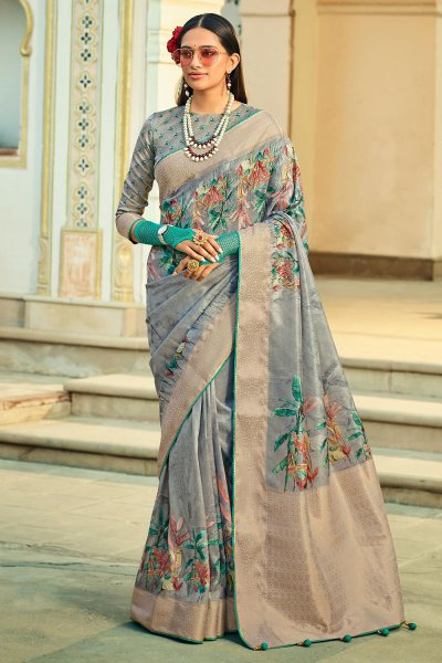 Grey Silk Floral Saree