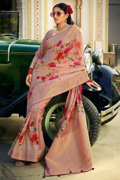 Light Peach Silk Floral Saree
