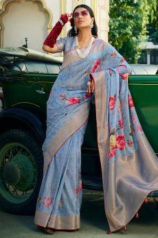 Cornflower Blue Silk Floral Saree