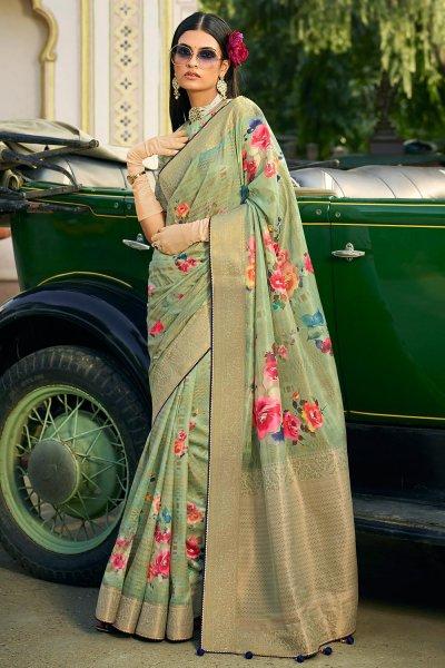 Sage Green Silk Floral Saree