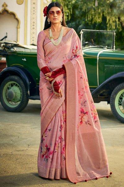 Blush Pink Silk Floral Saree